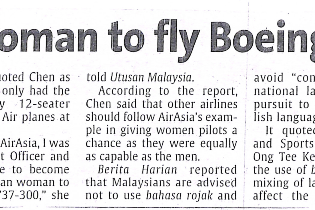 Chen is first woman to fly Boeing 737-300