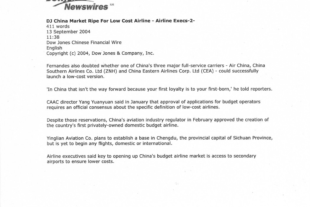 China Market Ripe for Low Cost Airline (1)