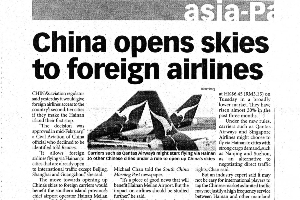 China opens skies to foreign airlines