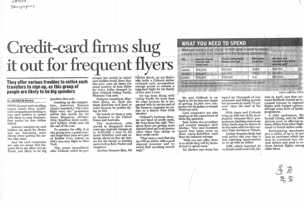 Credit-card firms slug it out for frequent flyers
