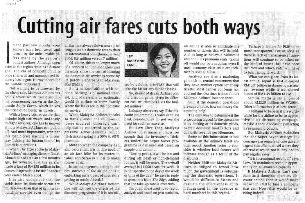 Cutting air fares cuts both ways