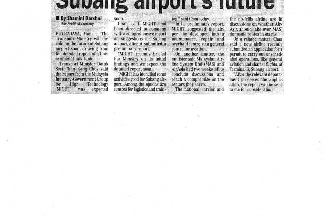 Decision soon on Subang airport's future
