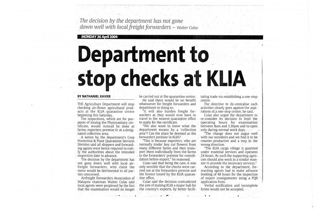 Department to stop checks at KLIA