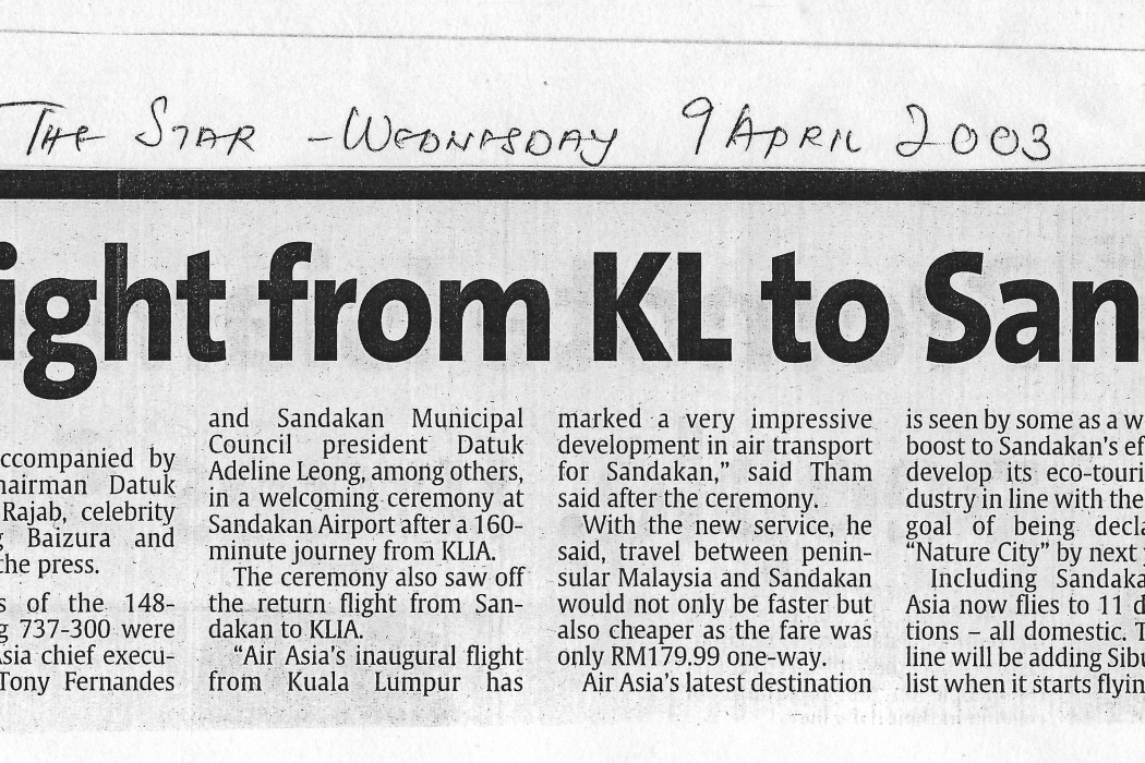 Direct flight from KL to Sandakan