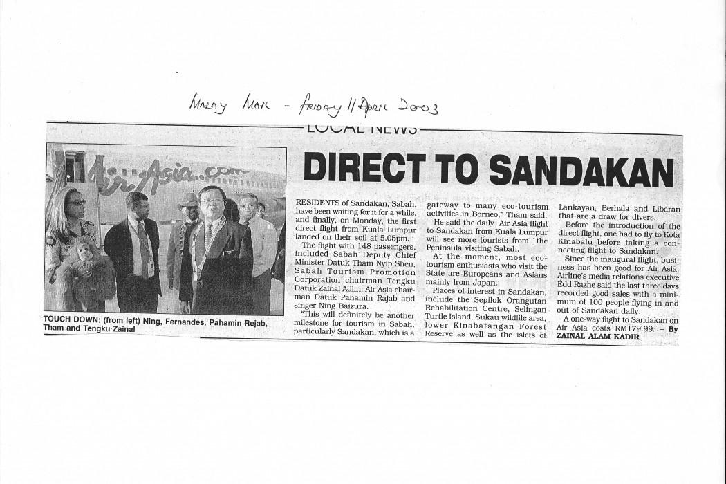 Direct to Sandakan