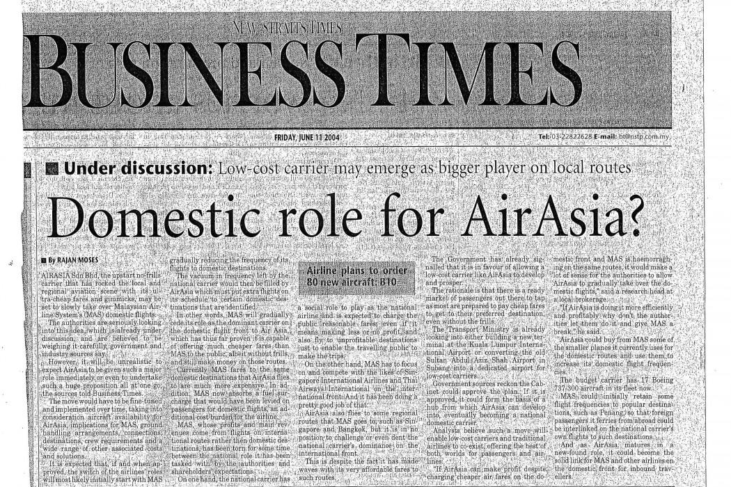 Domestic role for airasia