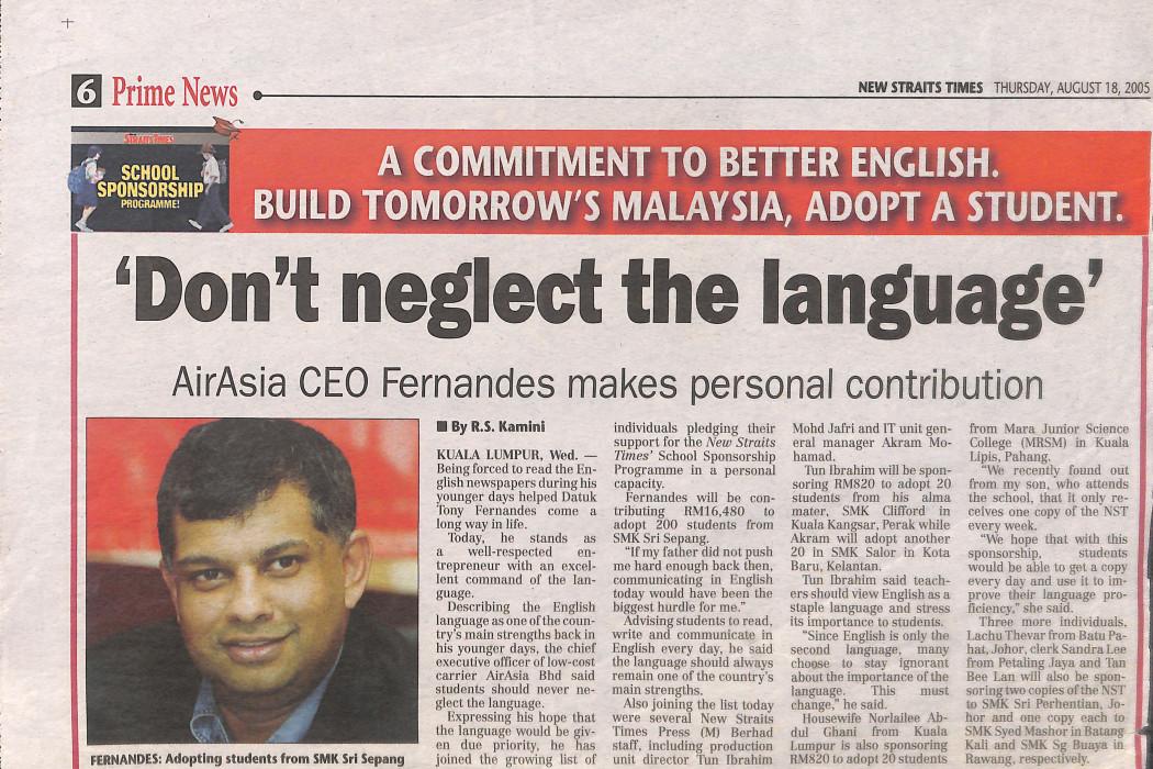 'Don't neglect the language'
