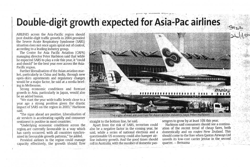 Double-digit growth expected for Asia-Pac airlines