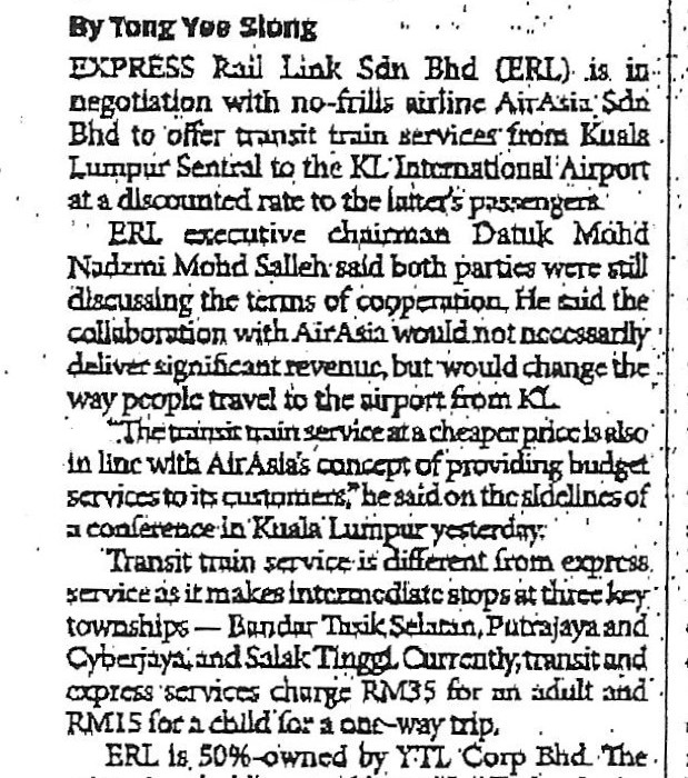 ERL, airasia in package talks