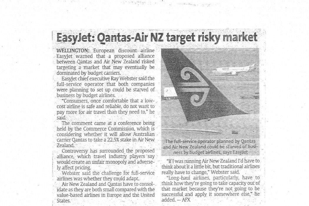 Easyjet Qantas-Air NZ targets risky market