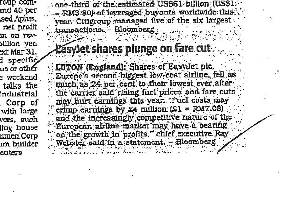 Easyjet shares plunge on fare cut