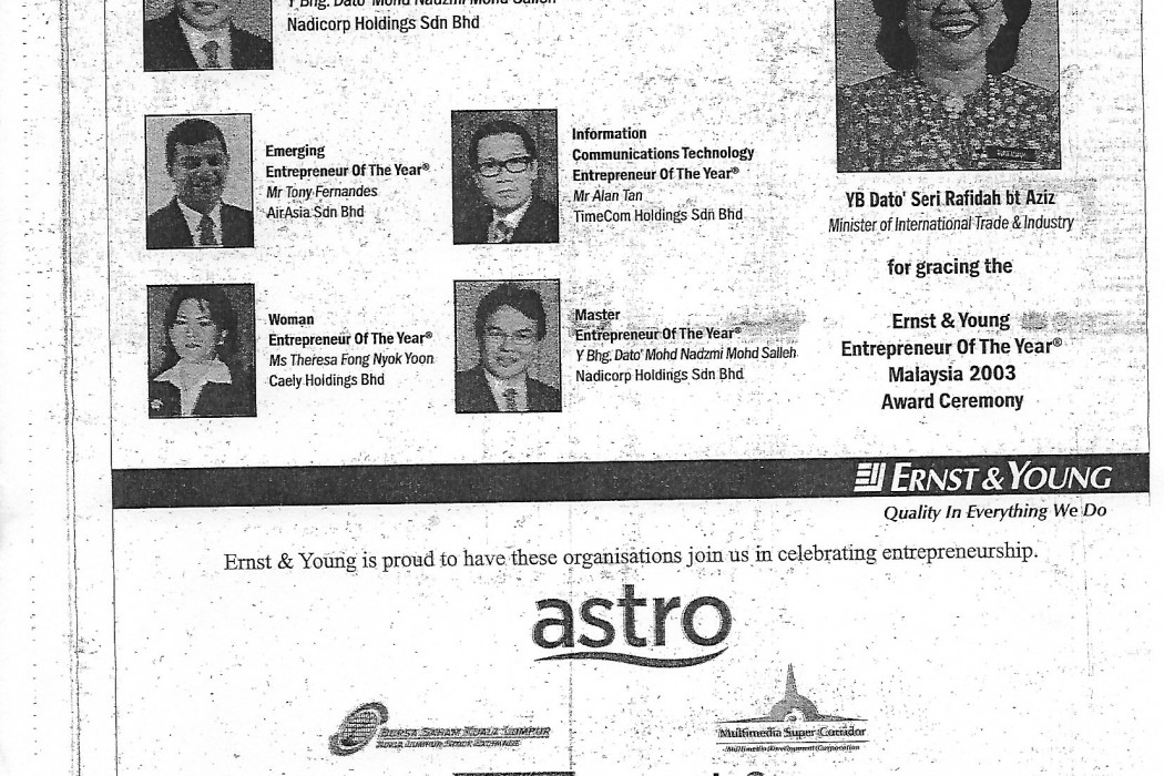 Ernst & Young Emerging Entrepreneur Of The Year ® Mr Tony Fernandes airasia Sdn Bhd