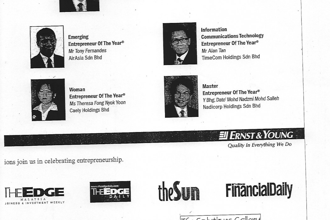 Ernst & Young Salutes The Award Recipents Of The Ernst & Young Entrepreneur Of The Year® Award Malaysia 2003