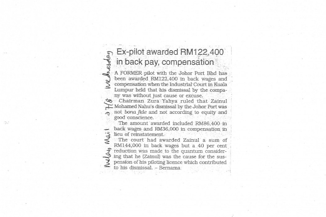 Ex-pilot awarded RM122,400 in back pay, compensation