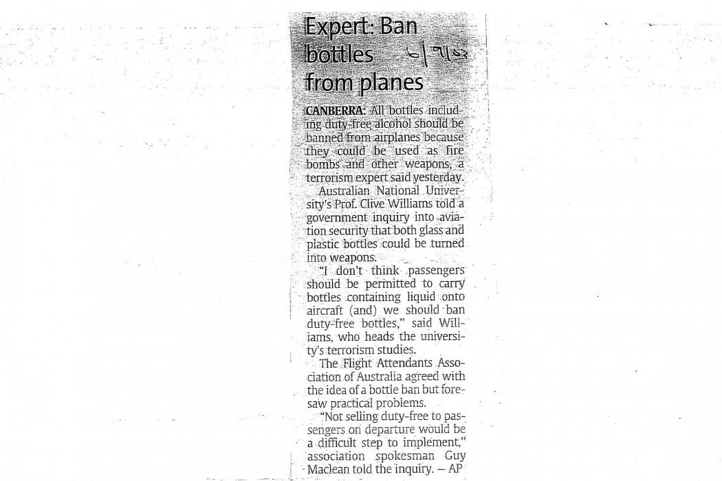 Expert Ban bottles from planes
