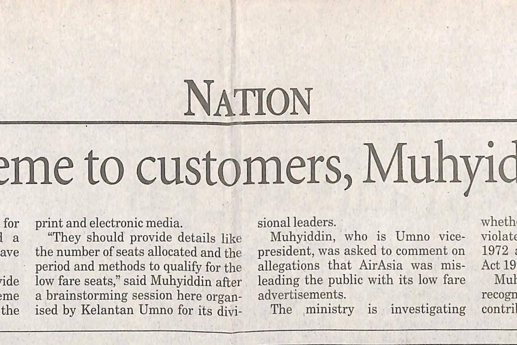 Explain low fare scheme to customers, Muhyiddin tells airasia