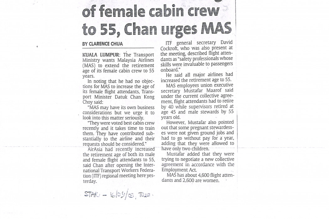 Extend retirement age of female cabin crew to 55, Chan urges MAS