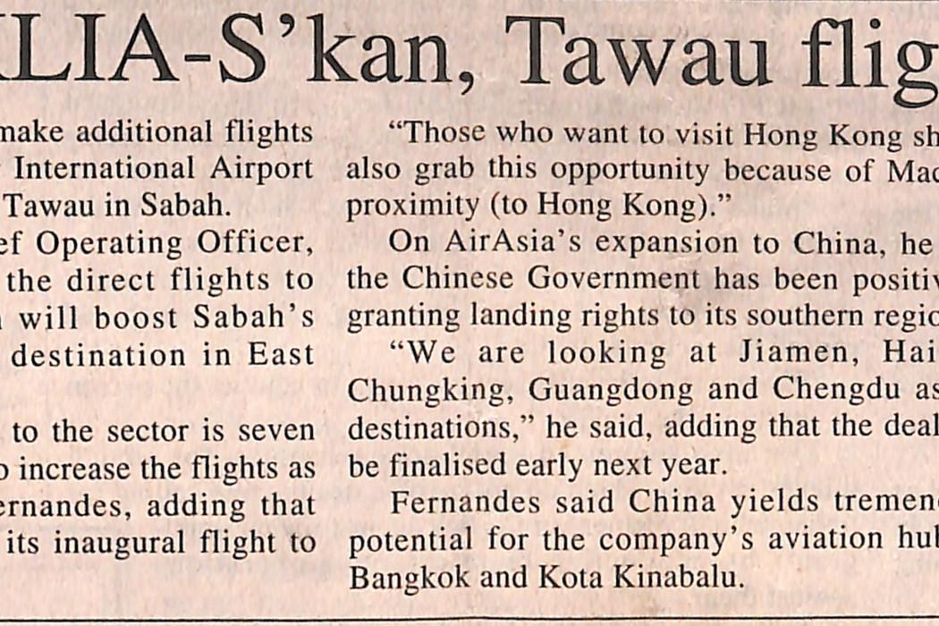 Extra KLIA-S'kan, Tawau flights soon airasia
