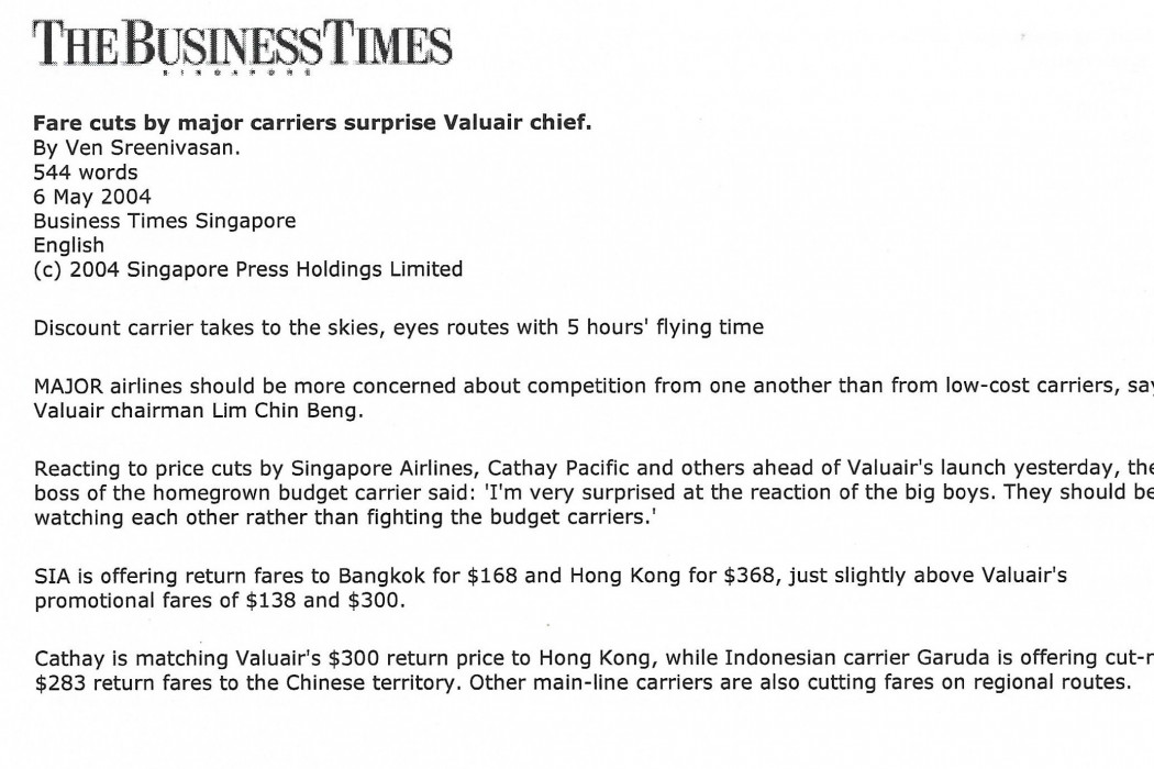 Fare cuts by major carriers surprise Valuair chief - 01