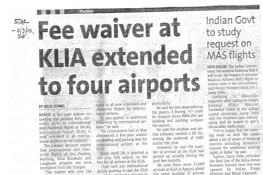 Fee waiver at KLIA extended to four airports