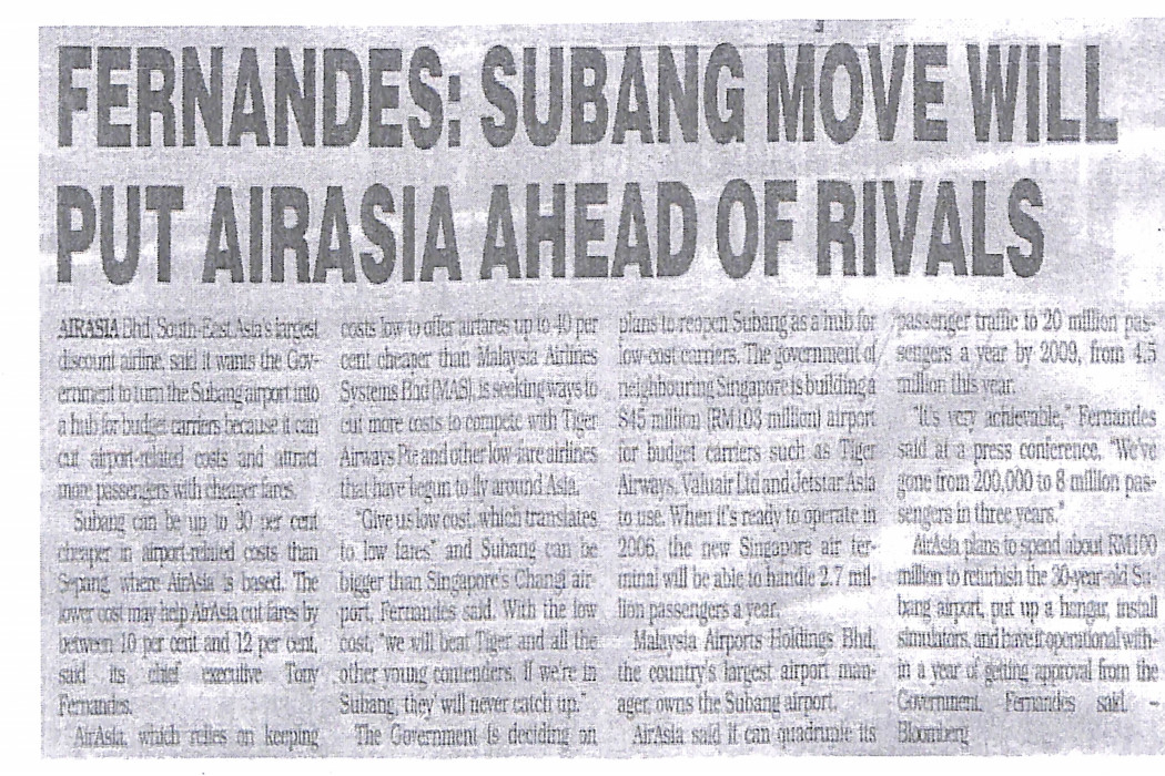 Fernandes Subang move will put airasia ahead of rivals