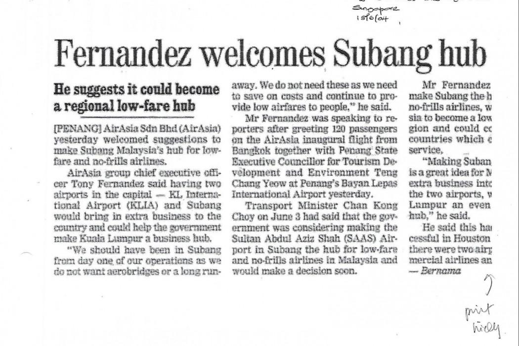 Fernandez welcomes Subang hub