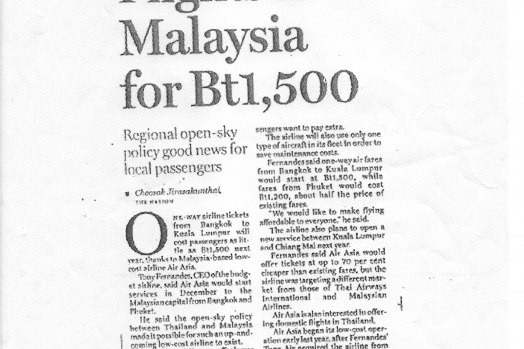 Flights to Malaysia for Bt1,500