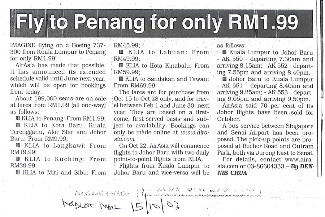Fly to Penang for only RM1.99