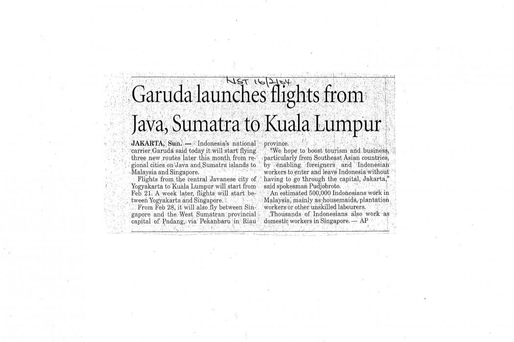 Garuda launches flights from Java, Sumatra to Kuala Lumpur