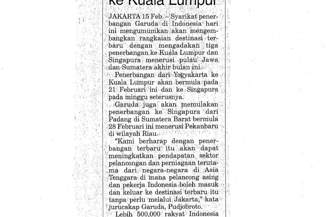 Garuda tingkat perkhidmatan ke Kuala Lumpur