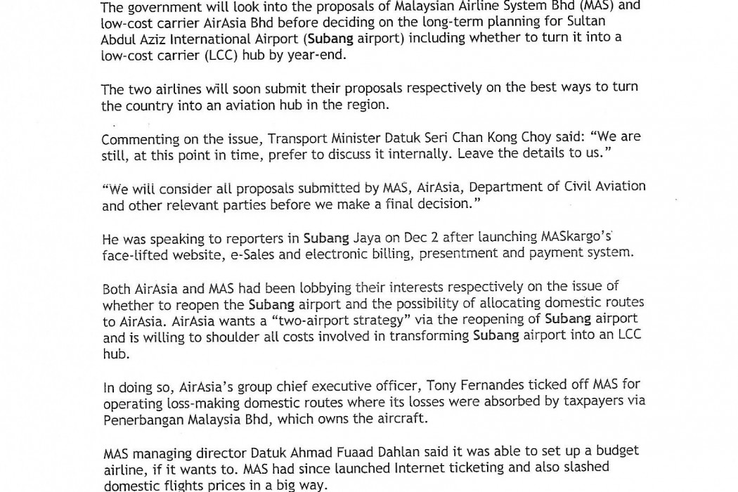 Govt to study and decide on Subang airport - 01