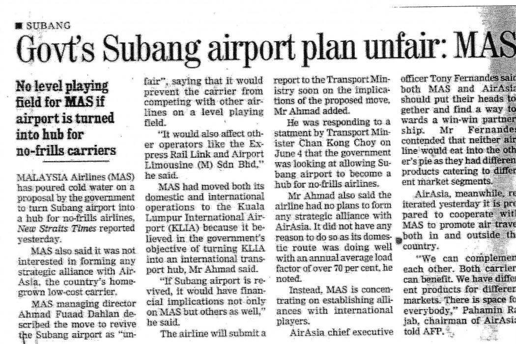 Govt's Subang airport plan unfair MAS