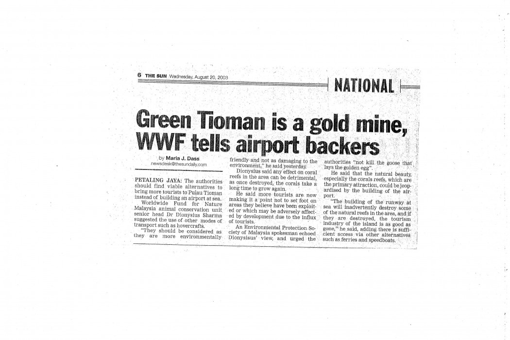 Green Tioman is a gold mine, WWF tells airport backers