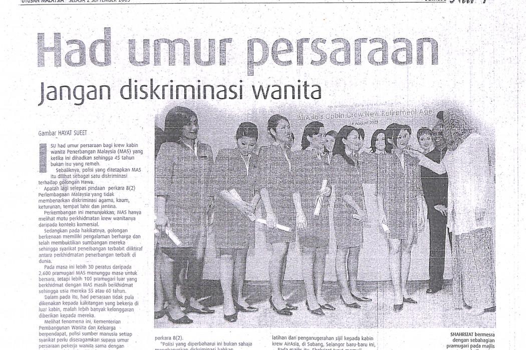 Had umur persaraan Jangan diskriminasi wanita
