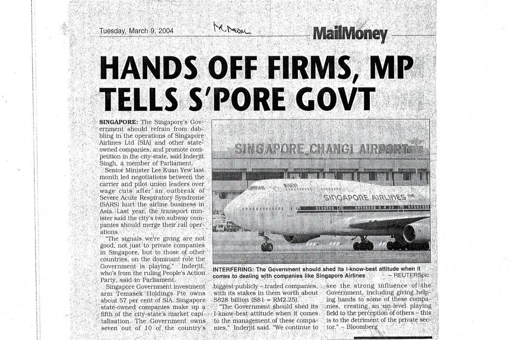 Hands Off Firms, MP Tells S'pore Govt
