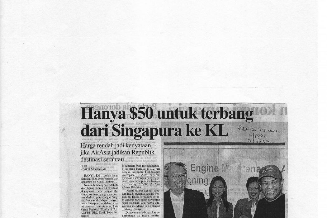 Hanya $50 untuk terbang dari Singapura ke KL