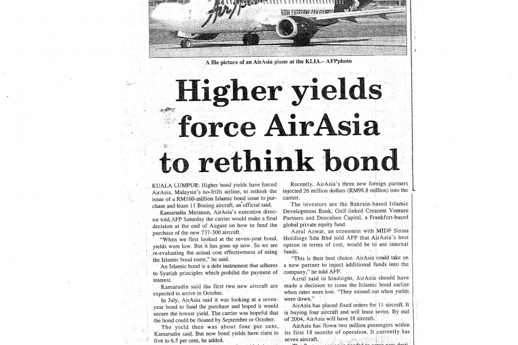 Higher yields force airasia to rethink bond