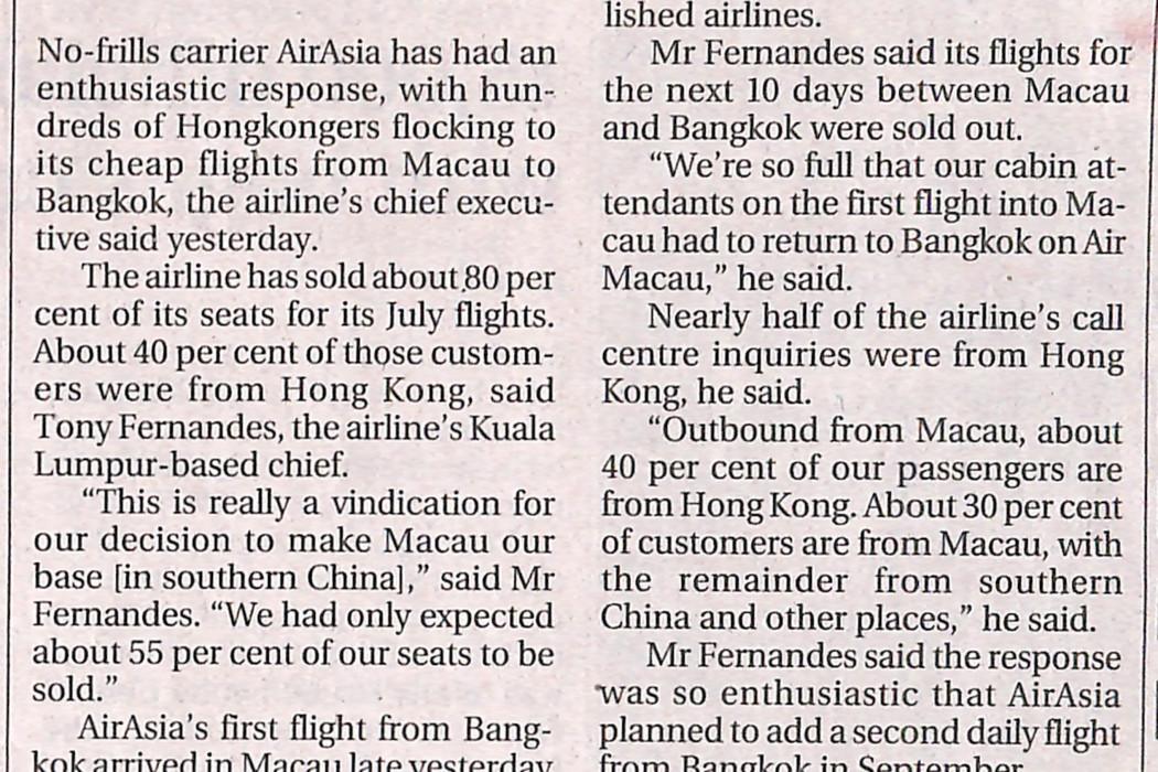 Hongkongers lap up airasia's no-frills fares