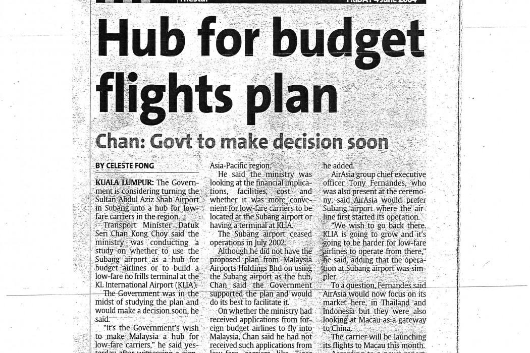 Hub for budget flights plan