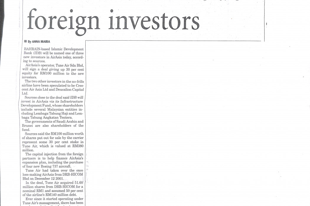IDB one of airasia's foreign investors