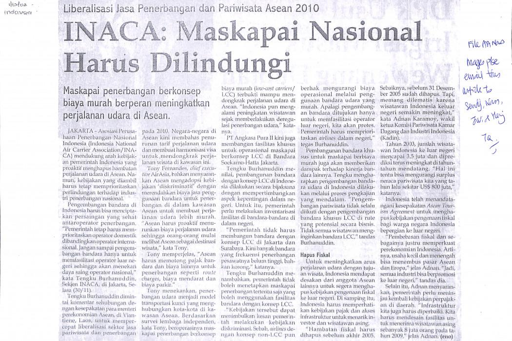 INACA Maskapai Nasional Harus Dilindungi