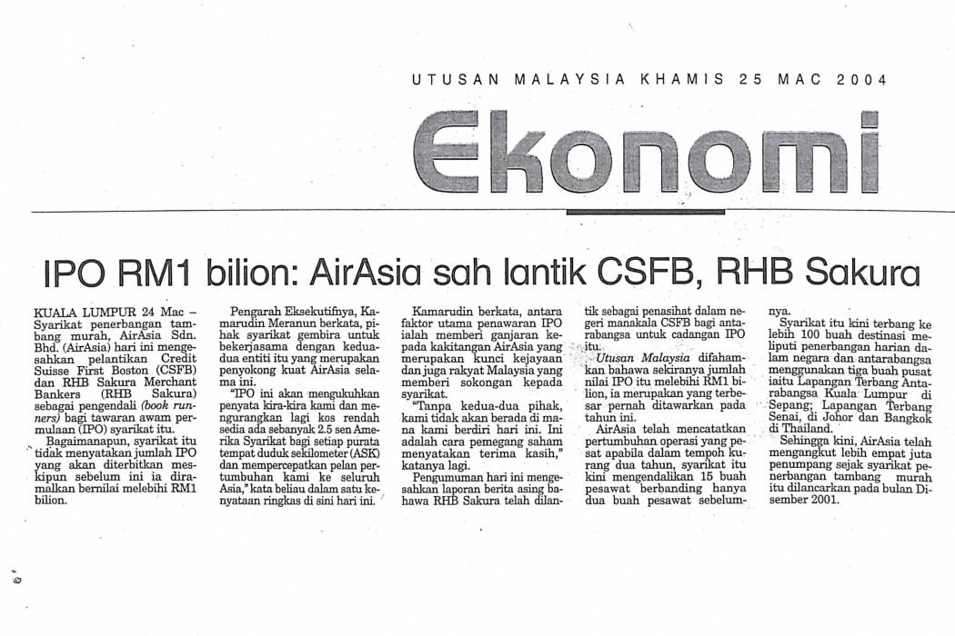 IPO RM1 bilion airasia sah lantik CSFB, RHB Sakura