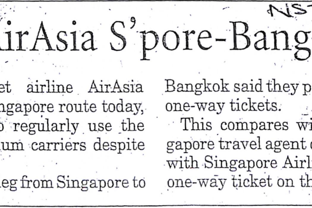 Inaugural airasia S'pore-Bangkok flight