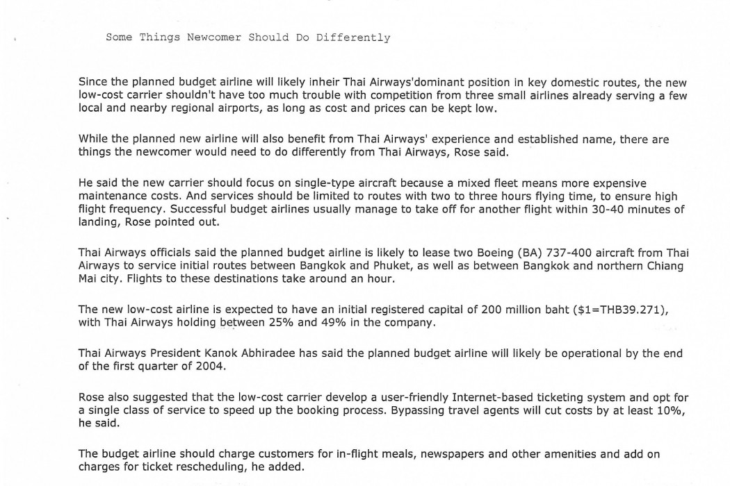 Interview Planned Thai Budget Airline May Need Tie-Ups (2)