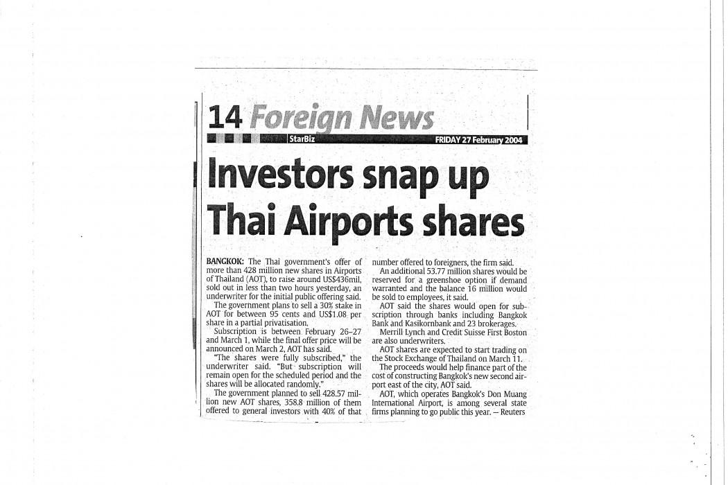 Investors snap up Thai Airports shares