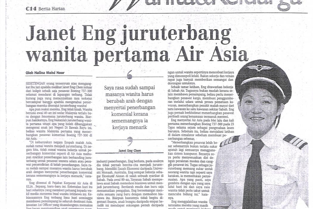Janet Eng juruterbang wanita pertama Air Asia