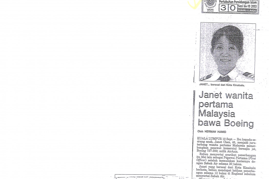 Janet wanita pertama Malaysia bawa Boeing