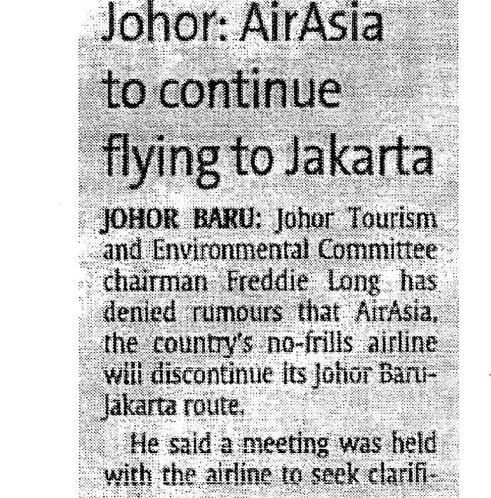 Johor' airasia to continue flying to Jakarta