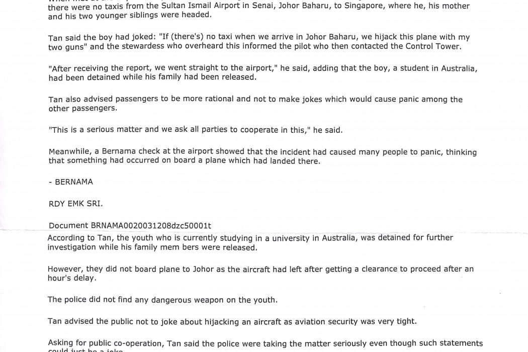 Joke to hijack plane lands teenager in hot soup