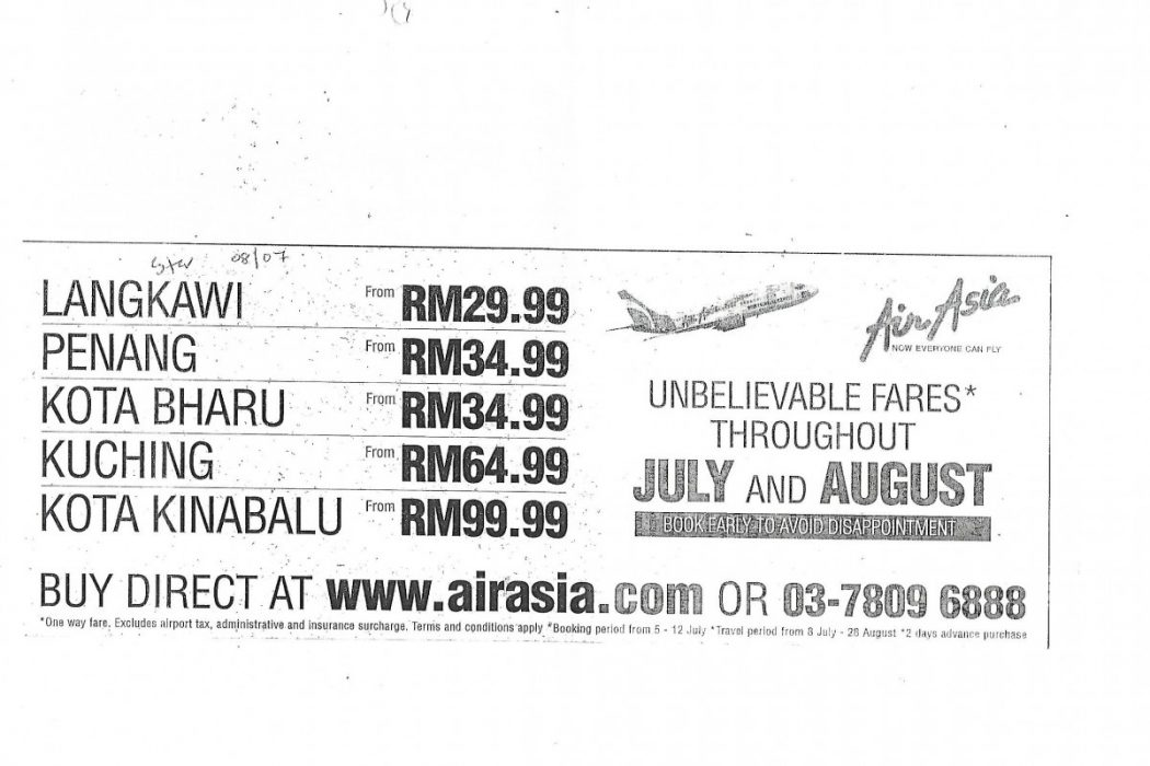 8th July 2002: Unbelievable Fares Throughout July and August: Book Early To Avoid Disappointment.